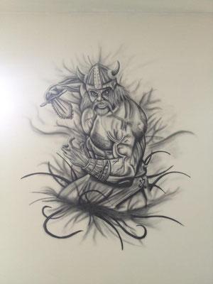 Tattoovorlage oder Wandbild im wohnzimmer