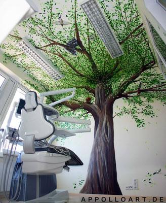 Behandlungsraum neu designe mit Illusionsmalerei Zahnarztpraxis im Innenraum Berlin