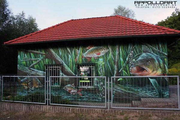 Fischerei in Berlin und Brandenburg und in ganz Deutschland ,mal mit Bildern  verschönert Graffiti