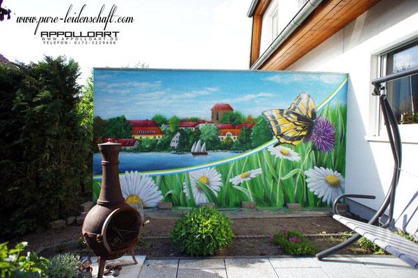 Lanschaftsbild Strausberg auf der privaten Terrasse Graffitikunst