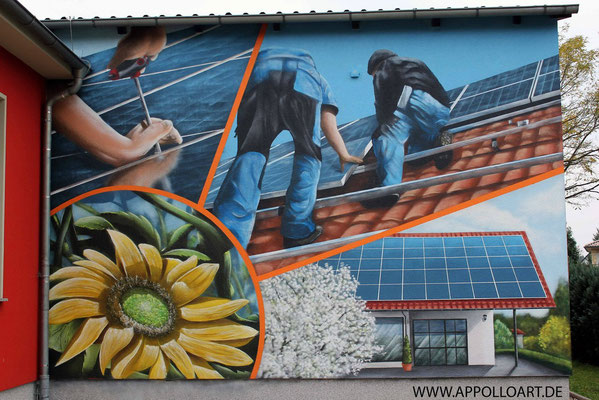 Sonnenhandwerker Fassadenbild mit Wandbild und Firmenlogo gestaltet in Fürstenwalde mit der Graffiti Kunst im schönen Brandenburg Oder Spree.Immobilien verschönern Sonnenenergie