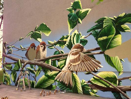 Wandmalerei Fassadenmotiv von Hand gemalt Essen