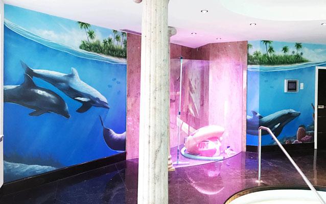 Wandmalerei Innenraum Schwimmbad Frankfurt