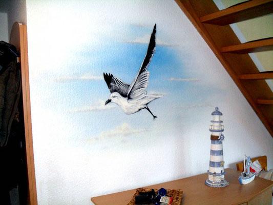 Möwe im Flur eines Appartments Innenraum Malerei Ostsee