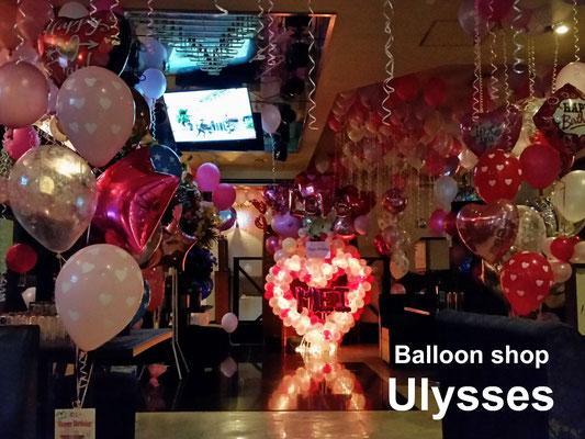 ナイトワーク キャスト誕生日 バースデーバルーン装飾 つくば市のバルーンショップユリシス キャバクラ 店舗店内装飾