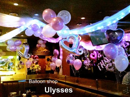 柏 キャバクラ キャストのバースデー 誕生日バルーン 出張店内装飾 ナイトワーク つくば市バルーンショップユリシス