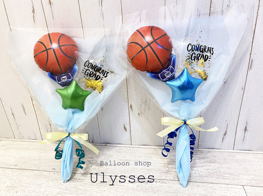 バスケ部 卒団祝い 卒部祝い バスケットボール 花束バルーンギフト ブーケ 卒業式バルーン祝い つくば市 バルーン屋 ユリシス 卒園