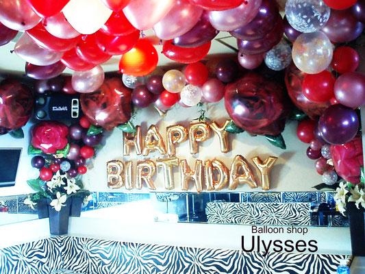 つくば市バルーンショップ ユリシス バルーンアート キャバクラ バルーン バースデー装飾 店内装飾 誕生日 バースデー イベント 風船