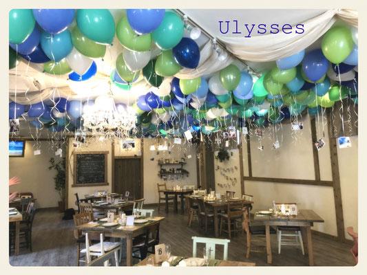茨城県つくば市 バルーンショップユリシス ウェディング 結婚式 バルーンシャンデリア 天井バルーン 受付 写真を浮かせる 披露宴 パーティー