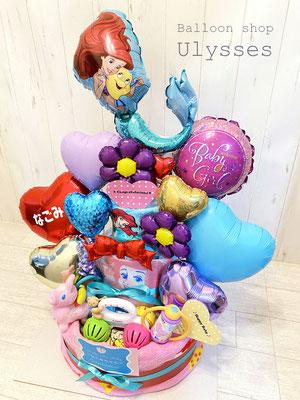 茨城県つくば市のバルーンショップ ユリシス 出産祝い オムツケーキ おむつケーキ ダイパーケーキ バルーンギフト ディズニーバルーン
