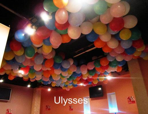 茨城県つくば市のバルーンショップユリシス バルーンアート 店舗 バルーン装飾 天井バルーン キャバクラ 店内装飾 バースデー ナイト