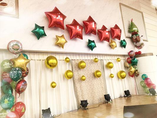 茨城県つくば市 バルーンショップユリシス バルーンアート バルーンギフト アレンジメント クリスマス デコレーション ステージ飾り