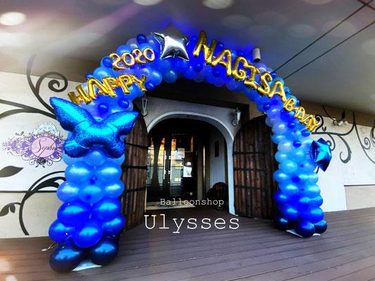 茨城県つくば市バルーンショップユリシス キャバクラ クラブ ホスト バルーン店内装飾 内装 出張装飾 バースデー 誕生日バルーン バルーンアーチ 天井 布飾り LED