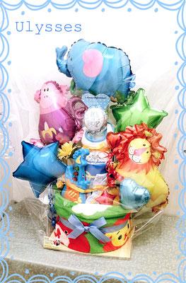 出産祝い オムツケーキ 名前入り おむつケーキ 茨城県つくば市 バルーンショップユリシス バルーン専門店 バルーンアート