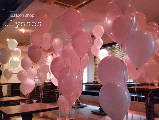茨城県つくば市バルーンショップユリシス バルーンアート 風船 パーティー会場バルーン 二次会 披露宴 白い風船 部屋いっぱいバルーン