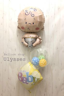 茨城県つくば市 出産祝い バルーンショップユリシス おむつケーキ 風船ギフト バルーンアート 赤ちゃんバルーン
