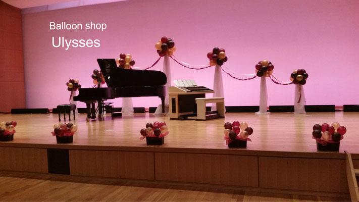 茨城県つくば市バルーンショップユリシス バルーンアート 土浦市 生涯学習センター ウララ ピアノの発表会 ステージバルーン装飾