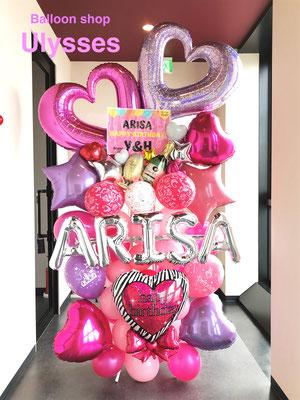つくば市バルーンショップユリシス バースデー 店内装飾 バルーン装飾 内装 キャバクラ クラブ ホスト 誕生日 イベント スタンド花