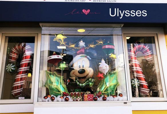 茨城県つくば市 バルーンショップユリシス バルーンアート 美容室ルクール様 クリスマスバルーン 店舗装飾