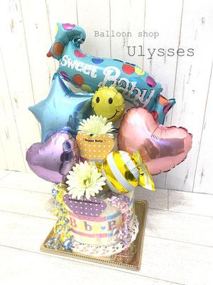 出産祝い オムツケーキ おむつケーキ バルーンアート バルーンギフト 茨城県つくば市のバルーンショップユリシス 風船 赤ちゃん名前入れ