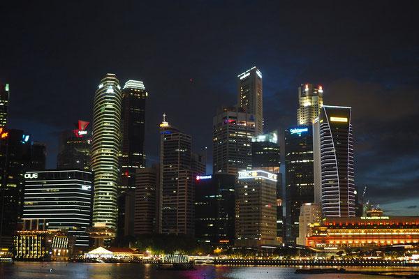 Singapur bei Dunkkelheit - Alles in 12 Taschen - Cycletouring/Radreise