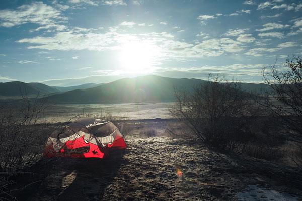 Zeltidylle am Morgen