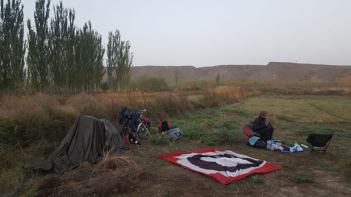 our first camping spot after crossing the border to China on Irkeshtam Pass