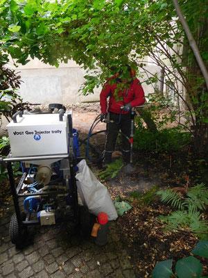 Revitalisierung von einem Hinterhof mit dem GeoInjector trolly