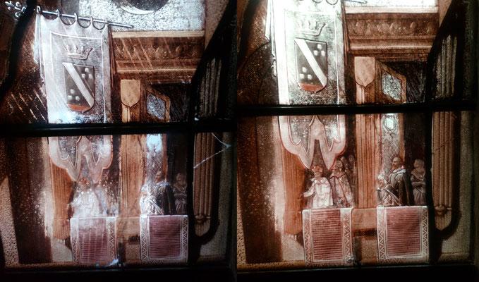Retouches de peinture à froid sur la pièce d'origine.  Vitrail représentant l'arrivée d'Henris IV au Havres,  Cathédrale Notre Dame du Havres. Restauration réalisée avec l'atelier Pinto