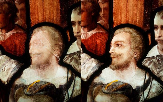 Retouches en peinture à froid sur le visage et les collages. Collages au silicone réalisés par l'atelier Pinto. Vitrail représentant l'arrivée d'Henris IV au Havres,  Cathédrale Notre Dame du Havres.