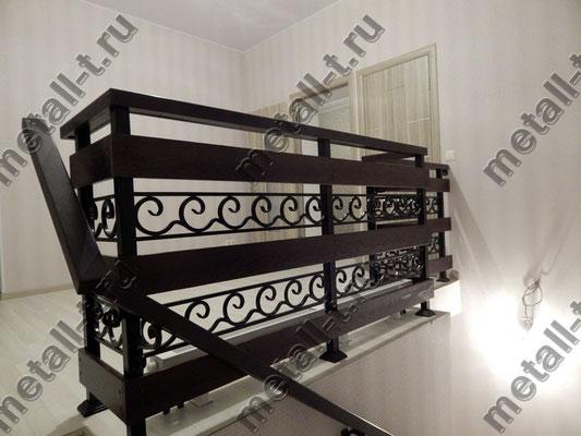 Ограждения лестницы - ковка + дуб