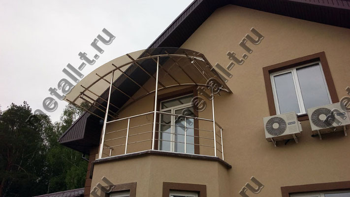 Нержавеющее ограждение балкона и козырек из нержавеющей стали