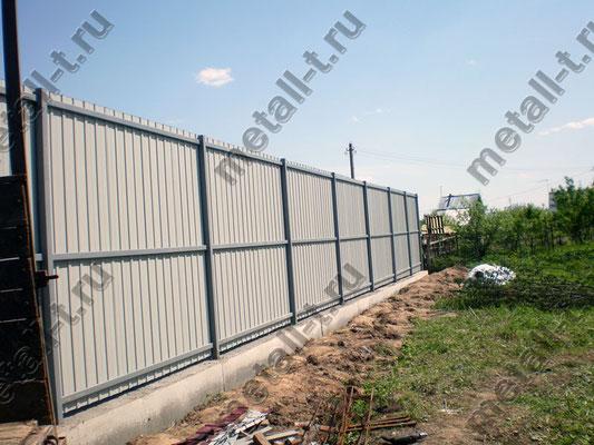 Забор из профлиста на армированной ленте
