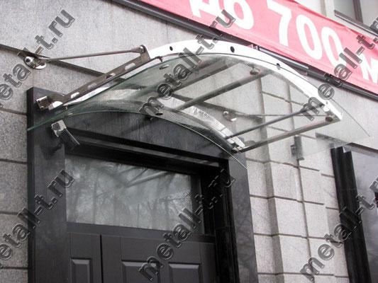 """Козырек из нержавеющей стали с кровлей из стекла типа """"триплекс"""""""
