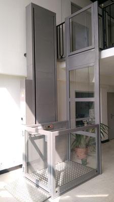 Glaswand wenn Lift nicht an einer bestehenden Wand steht