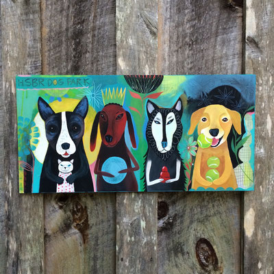 Four Dogs painted for auction Humane Society of Blue Ridge | 18 x 24 on plywood
