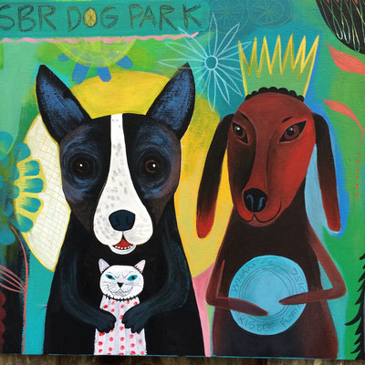 Detail of Four Dogs | Painting made to auction for Humane Society of Blue Ridge
