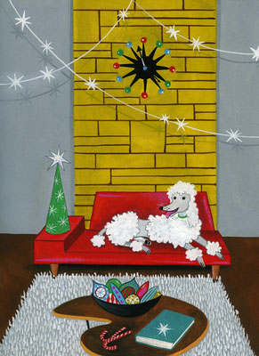 White Poodle Christmas / Cover Illustration / Client: Bas Bleu Bookseller