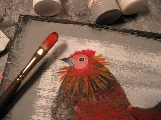 a folk art chick in progress