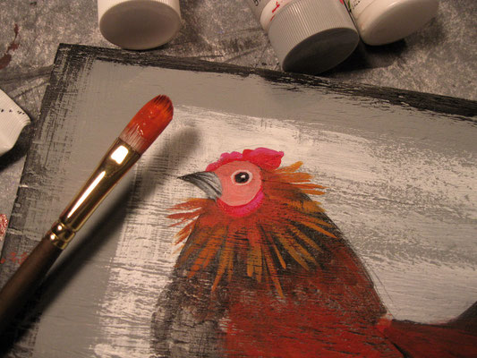 a folk art chick in progress