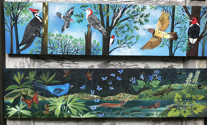 Woodpeckers and Pond Life Paintings | 8 x 24 on plywood