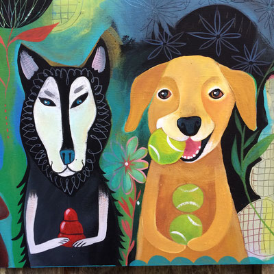 Detail of Four Dogs | auction painting for Humane Society of Blue Ridge