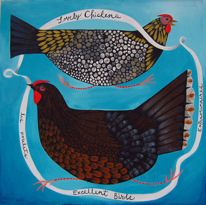 the lovely hens. 24x24 acrylic on plywood