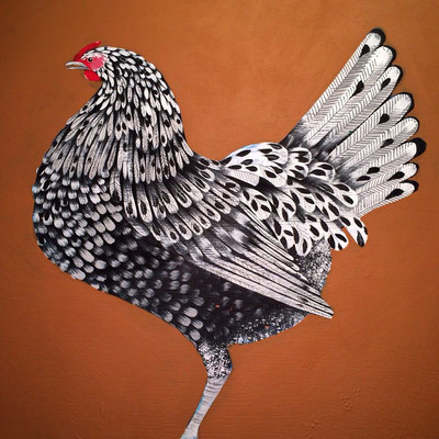 Splash Hamburg Hen / 24 x 34 on plywood