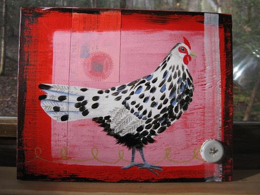 The Splashy Hamburg Hen | 10 x 12 acrylic on plywood with crayon