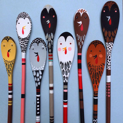 Chicken spoons | acrylic on wooden spoons