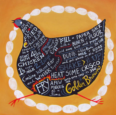 fried chicken recipe hen. 24x24 acrylic on plywood