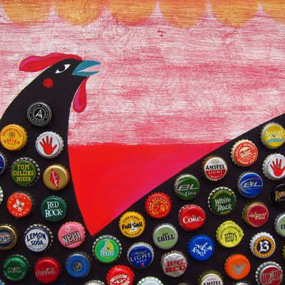 Detail of a bottle cap chicken | 24 x 24 on plywood