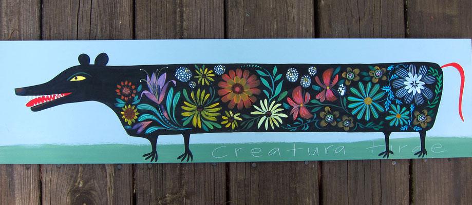 Flowery Possum | My best selling folk image | 12 x 24 on plywood
