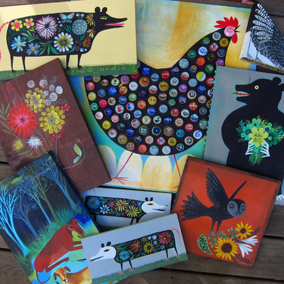 Market collection of folk art by Ande Cook